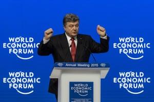 Ukrainian president Petro Poroshenko speaks during a session of the World Economic Forum (WEF) annual meeting on January 21, 2014 in Davos.