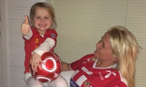 Four-year-old YNWA with her mum. The family plan a trip to Anfield in May.