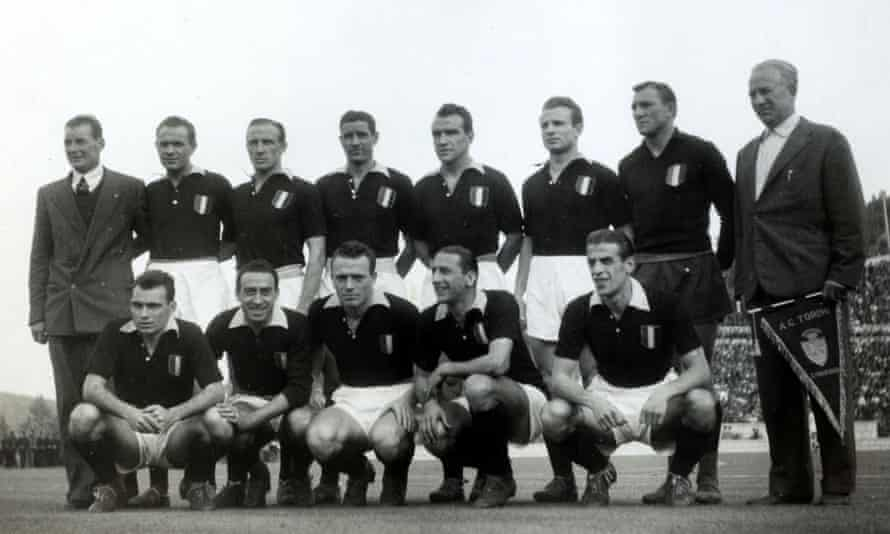 Ernö Erbstein, far right, lines up with his Torino team before the friendly against Benfica on 3 May 1949.  Tragically the entire Torino team was killed the following day in the Superga air disaster.