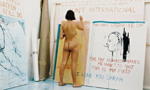 Tracey Emin working on 'Exorcism of the Last Painting I Ever Made' in 1996.