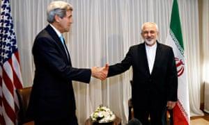 John Kerry shakes hands with Mohammad Javad Zarif
