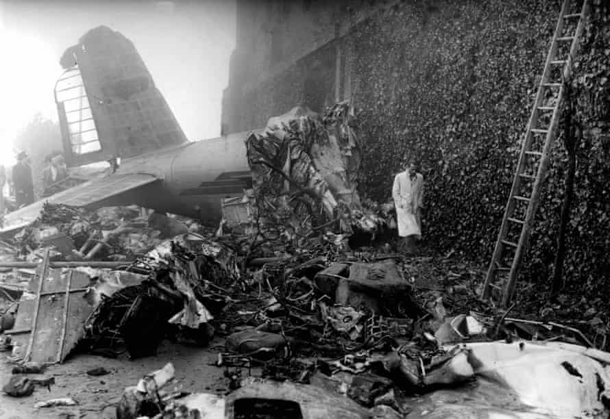 The crash site of the aeroplane carrying the Torino team at Superga.