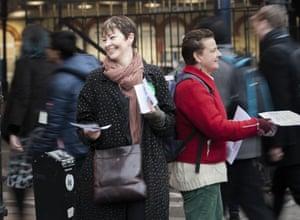 Caroline Lucas leafleting in herBrighton constituency .