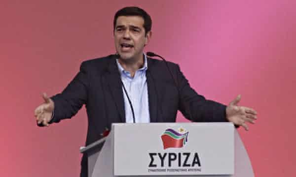 Syriza leader Alexis Tsipras gives a pre-election speech in Thessaloniki.