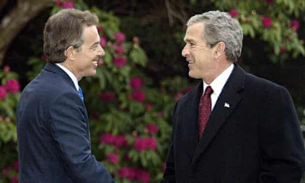 Tony Blair and George Bush meeting at Hillsborough Castle in Northern Ireland to discuss Iraq