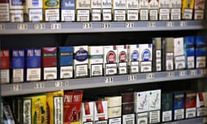 Cigarettes on display in London