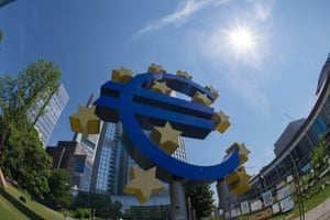 Euro symbol in front of European Central Bank Headquarters, Frankfurt. The ECB president Mario Draghi is expected to unveil a quantitative easing scheme.