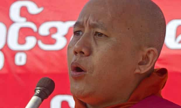 Ultranationalist Buddhist monk Wirathu speaks during a rally