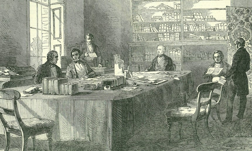 Public health campaigner Edwin Chadwick leads a meeting of the General Board of Health in Whitehall.