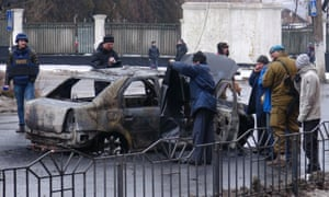 A burnt vehicle seen after it was hit by a shell in Donetsk, Ukraine.
