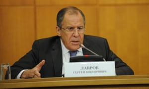 Sergei Lavrov at a press conference in Moscow