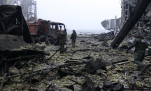 Debris in the destroyed Donetsk airport.