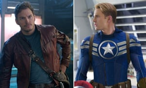 Chris Pratt as Star-Lord and Chris Evans as Captain America