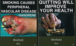 'Plain' cigarette packets on display in Australia.