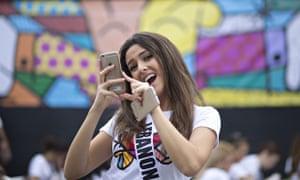 Miss Lebanon taking selfie