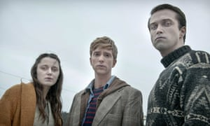 Partially deceased … Emily Bevan as Amy, Luke Newberry as Kieren and Emmet J Scanlan as Simon
