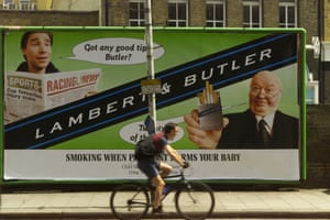 A large billboard advert for Lambert and Butler