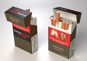 A standardised cigarette pack which will carry health warnings and UK duty paid information as current branded packs do