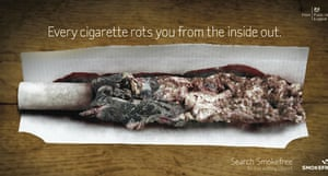 A graphic anti-smoking advert which will be released, showing a father lighting a hand-rolled cigarette full of rotting flesh