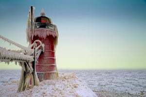 South Haven's south pierhead light is coated with ice