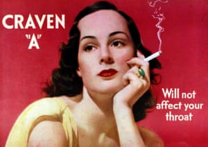 A 1939 advert for Craven 'A' cigarettes, with the tag line: Will not affect your throat