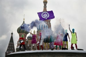 Pussy Riot perform in front of Saint Basil's Cathedral in Moscow, 2012.