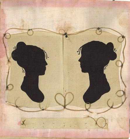 A double portrait of Charity Bryant and Sylvia Drake  surrounded bylocks of their hair, c1820.