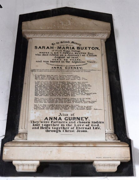 A memorial to Sarah-Maria Buxton and Anna Gurney in the Church of St Martin, Overstrand, Norfolk.