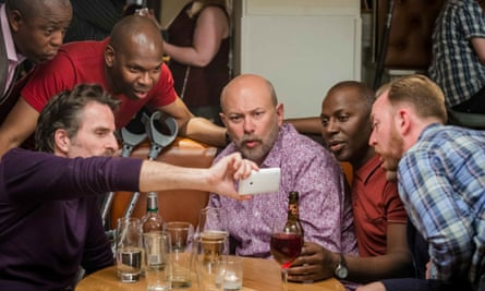 Con O'Neill as Cliff, Vincent Franlin as Henry, Cyril Nri as Lance and Darren Lawrence as Raymond in Cucumber.