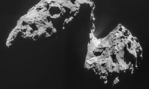 The image comprised of four images taken with the navigation camera on Rosetta and released by the European Space Agency ESA on Thursday, Nov. 20, 2014 shows comet 67P/Churyumov-Gerasimenko on Nov. 17, 2014 from a distance of 42 km (26 miles) from the center of the comet. The mystery of where Earth s water came from has gotten murkier, with astronomers essentially eliminating one of the chief suspects: comets.