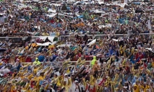 Six million people turned up for a mass with Pope Francis at a Manila park.