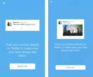 Twitter is showing verified users how Instagram links look compared to direct photo posts.