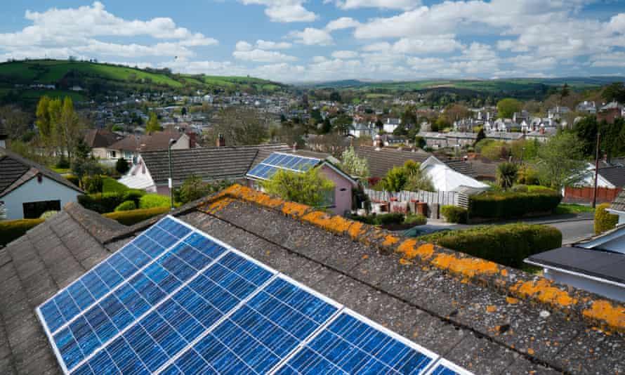 Solar panels on a roof in Totnes, Devon UK