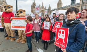 Protests against HS2 in Westminster last year.