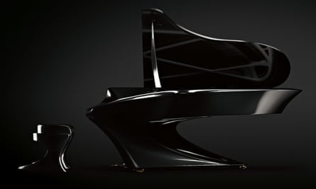 The sweeping curves of the Boganyi piano, and matching stool