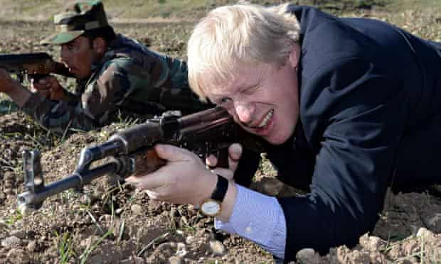 Boris Johnson with AK47 in Kurdistan
