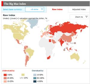 The Big Mac Index map