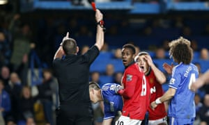 Phil Dowd in Chelsea v Manchester United Barclays Premier League match