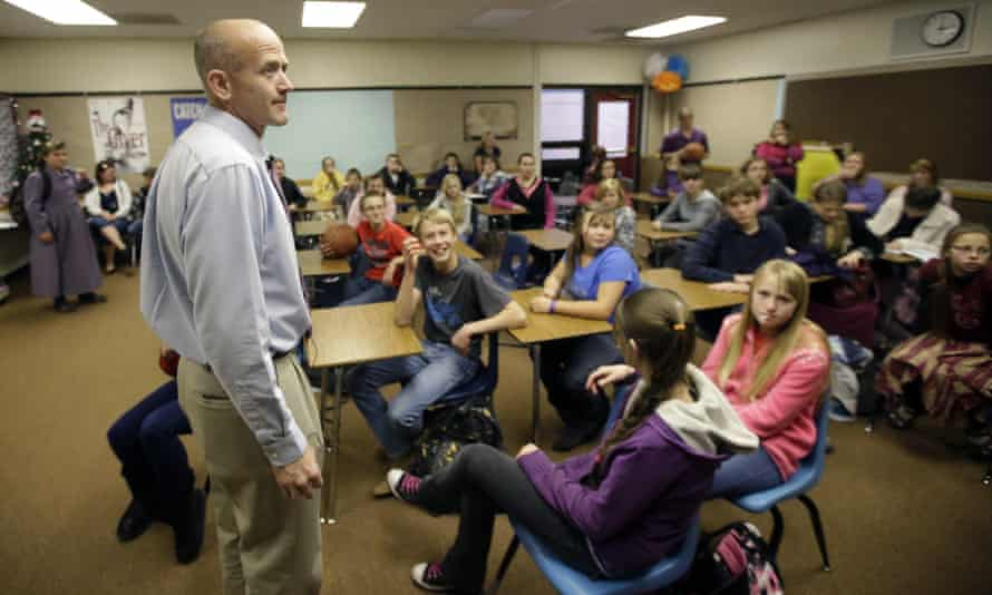 Water Canyon School Principal Darin Thomas stands in a classroom in Hildale, Utah.