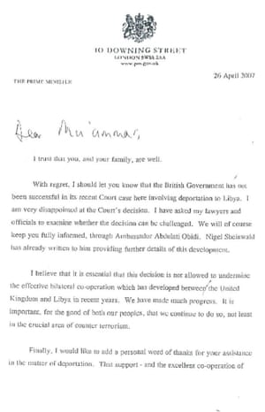Page 1 of Tony Blair's letter to Muammar Gaddafi