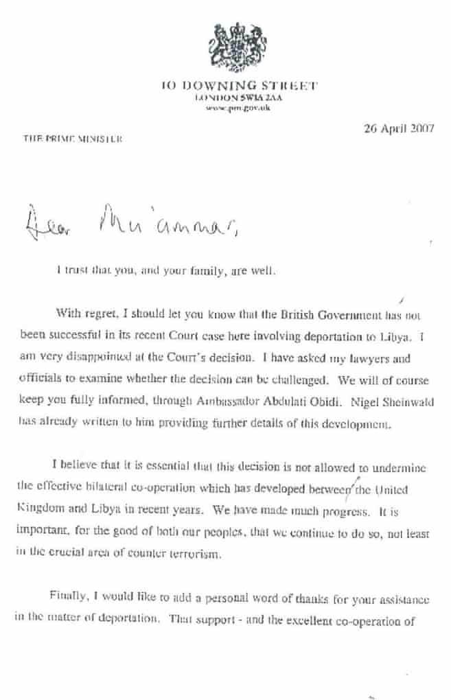 Page 1 of Tony Blair's letter to Muammar Gaddafi
