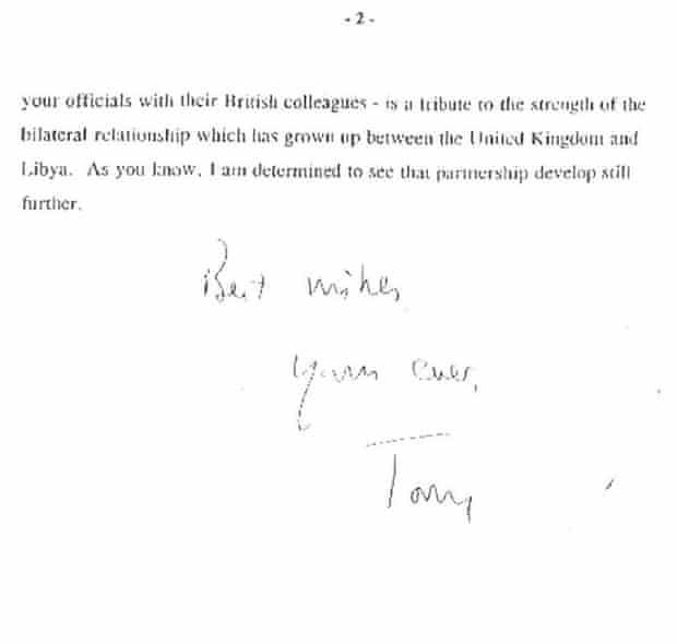 Tony Blair's letter to Muammar Gaddafi in April 2007.