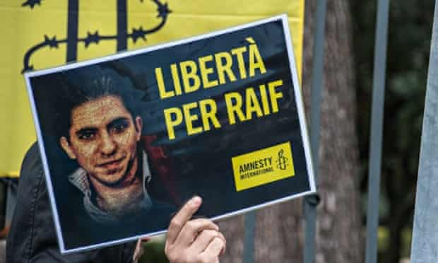Protests in Rome against the flogging of Saudi blogger Raif Badawi