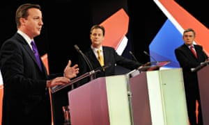 David Cameron, Nick Clegg and Gordon Brown during a leaders' debate in the 2010 election campaign