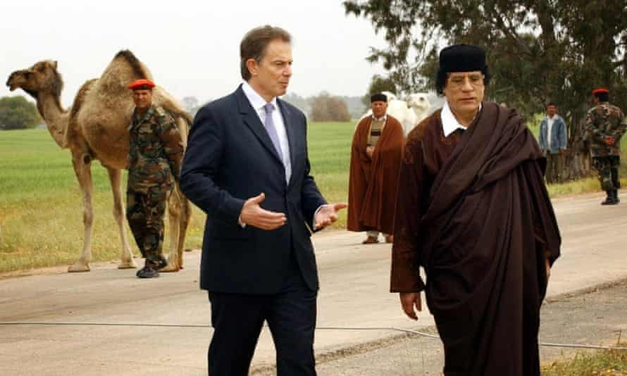 Blair and Gaddafi during a break in talks held in March 2004.
