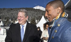 Al Gore (left) and Pharrell Williams in Davos in January 2015