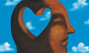 Graphic of a man with a heart shaped hole in head