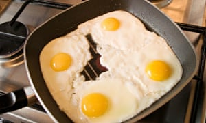 A pan of fried eggs.