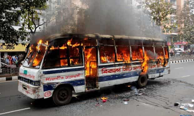 Bus on fire in Dhaka