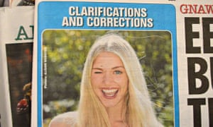 Thursday's Page 3 slot was headlined 'clarifications and corrections'